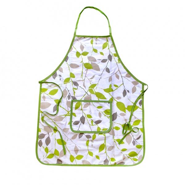 Zástěra kuchyňská, bavlna, 60x74, zelené květy
